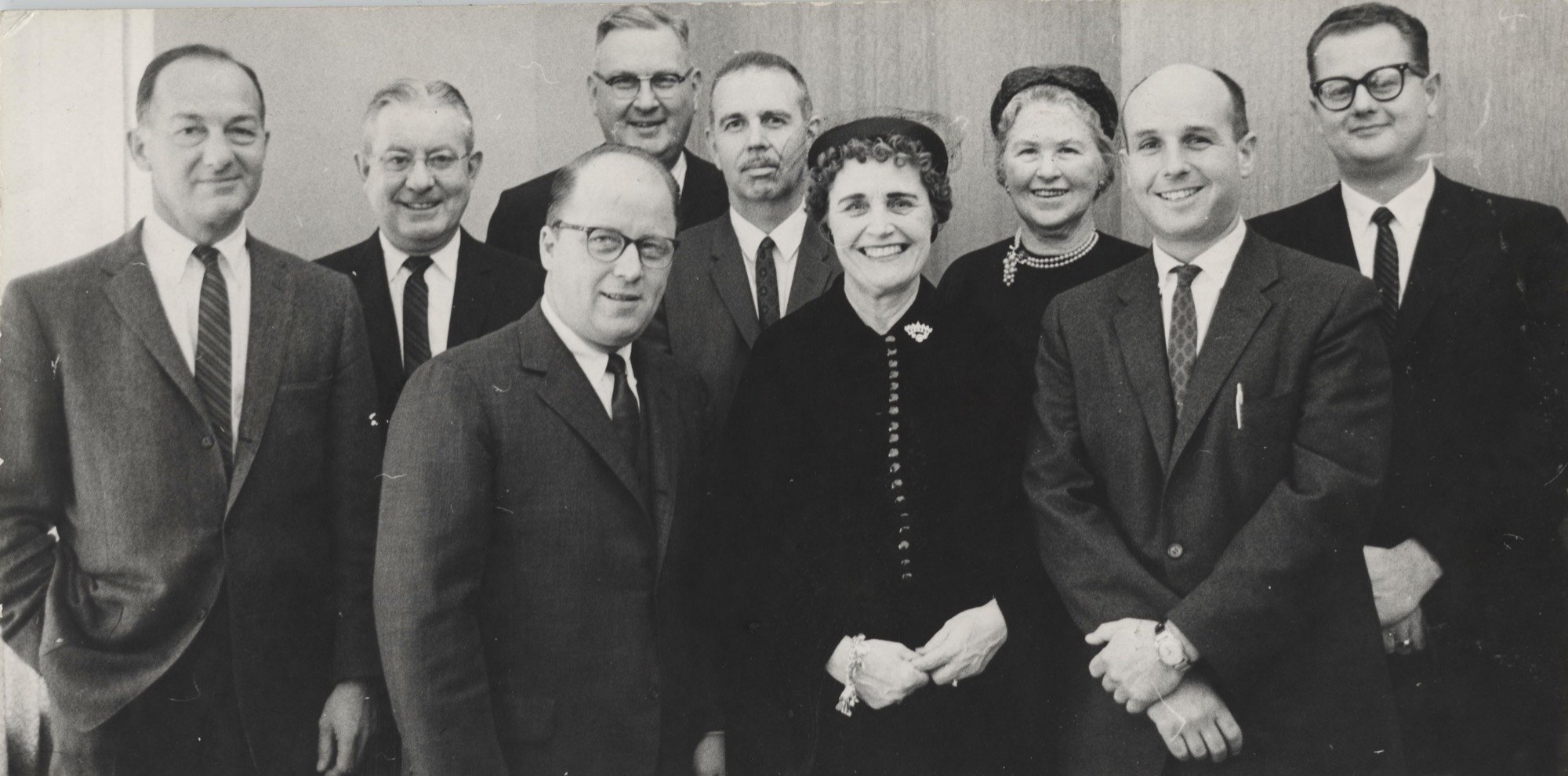 Members of the first Board of Control: l to r back row-- Edward J. Frey, James Copeland, Dale Stafford, William Kirkpatrick, Icie Macy Hoobler, Kenneth Robinson. l to r front row--Arnold Ott, Grace Kistler, and L. William Seidman, Chair. The nine member board was later reduced to eight, 1960.